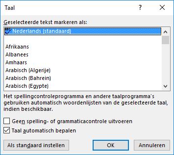 Spellingscontrole (taal wijzigen)