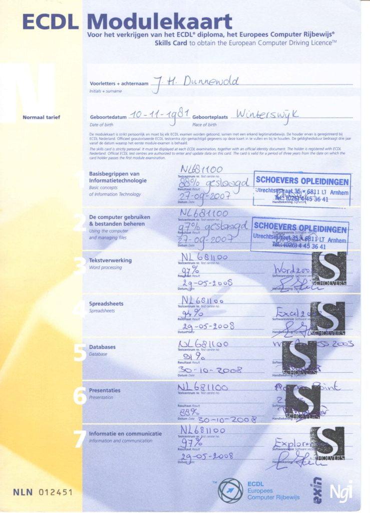 Modulekaart ECDL