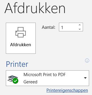 Afdrukken naar pdf