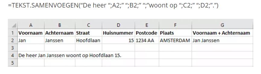 tekst samenvoegen in Excel